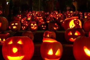 Glowing pumpkins at night.