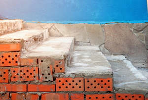 brick stairs with cement cladding under construction