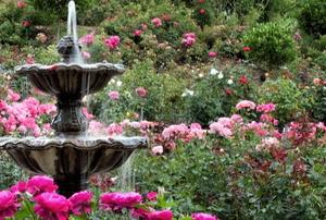 A copper garden fountain.
