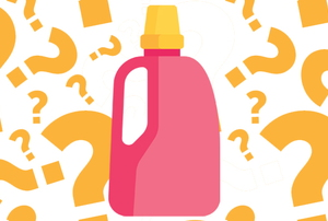 A bottle of bleach surrounded by question marks.