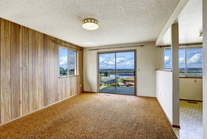 A home with wood paneling.