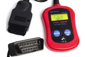 A cheap, ODB 2 scanner in red.