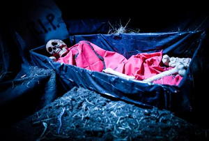A skeleton rests in a coffin.
