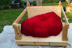 A beanbag chair reading bench
