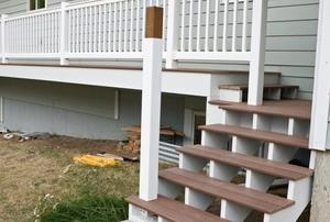 A wood porch.