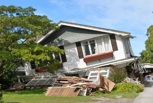 House in Avonside collapses in the largest earthquake Christchurch has ever experienced - 7.1 on the Richter Scale on March 26, 2011 in Christchurch.