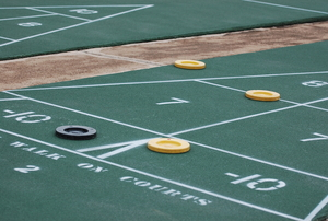 shuffleboard court with discs