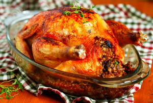 A stuffed, Thanksgiving turkey.