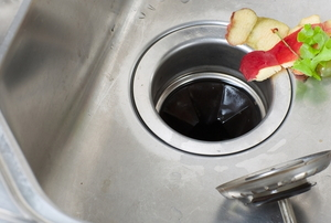 food in a sink over a garbage disposal drain