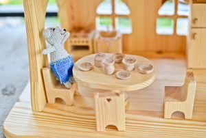 Wood dollhouse furniture.