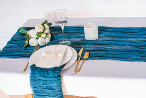 A blue table runner.
