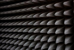An abstract view of egg-crate soundproofing.