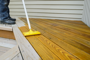 staining cedar decking