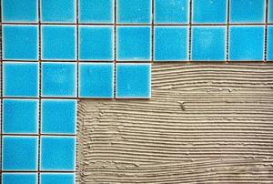 Blue ceramic tiles.