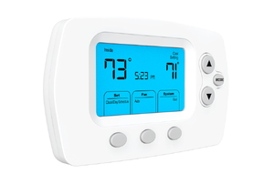 Thermostat on the wall reads 73 degrees