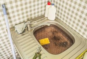 A clogged drain.
