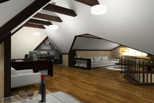 room with angled ceiling and dark wood beams