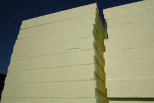 Stack of rigid foam insulation