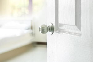 white interior door with silver knob