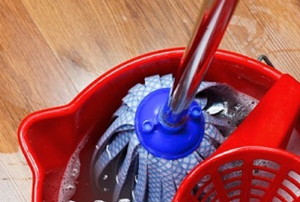 a mop in a bucket on a vinyl floor