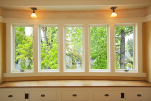 five connected windows in a kitchen-area