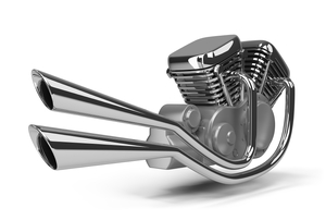 A motorcycle engine on a white background.