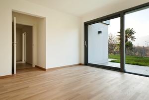 A sliding glass door.