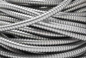 spiral of silver colored Electrical Conduits