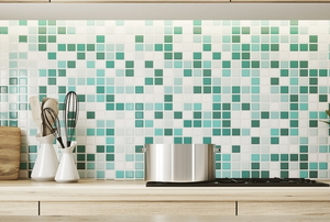 A kitchen with tile.
