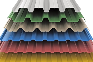Several colors of steel roofing materials