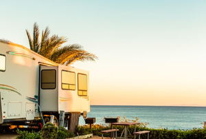 Motorhome parked by the beach