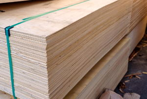 Bunches of plywood.