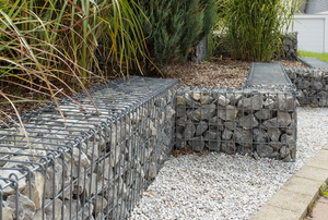 stone wall contained in metal mesh material