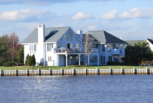 A seawall on a waterfront property.