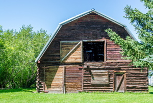 A gambrel roof on a barn.
