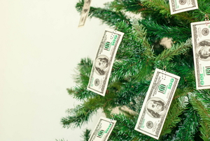 A Christmas tree decorated in cash.