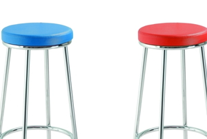 two padded bar stools, one red and one blue