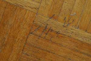 Damaged wood flooring with scratches.