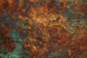 beautiful mottled green and brown verdigris finish