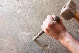 chiseling concrete