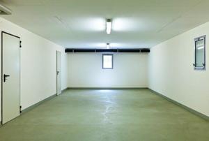 A concrete basement floor.