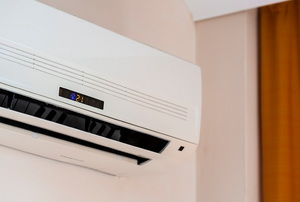 A wall air conditioner.