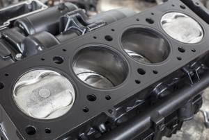 A cylinder head in a car.