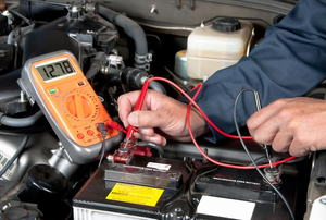 A car battery being tested.