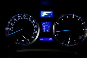 A speedometer on a car.
