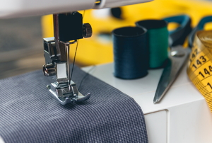 Fabric on a sewing machine