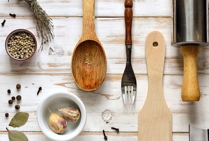 kitchen utensils on a wooden table