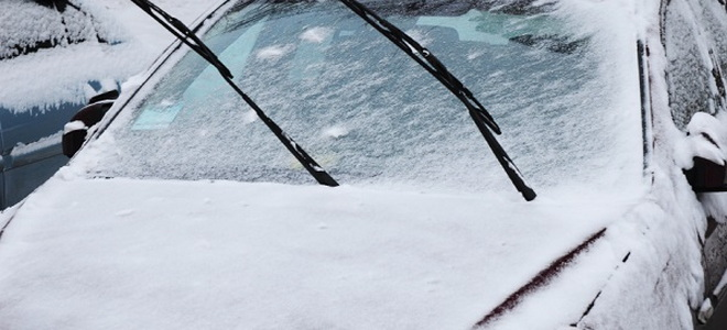 car frozen in snow