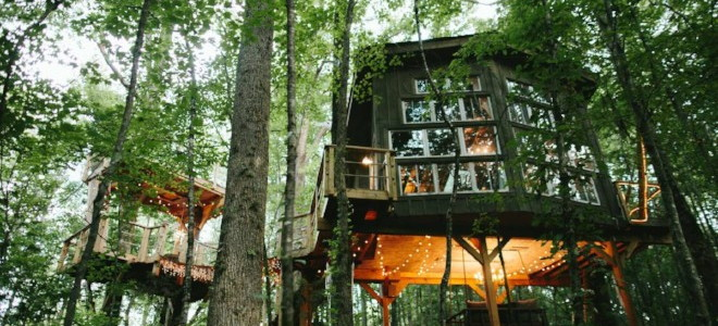 Treehouse with a wall of windows connected to a smaller structure via a deck