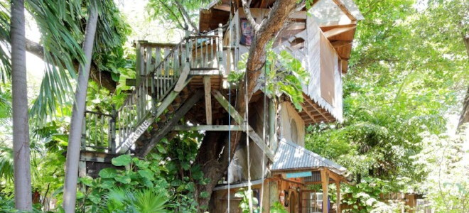 A multi-tiered treehouse built around the base of a tree with stairs leading to the top